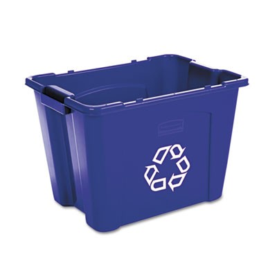 Rubbermaid 5714-73 Stacking Recycle Bin Rectangular 14 gallon - Blue