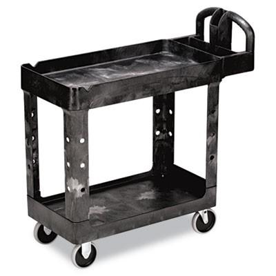 Rubbermaid 4500-88 HD 2-Shelf Utility Cart w/Lipped Shelf (Small) - Black