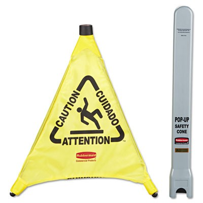 """Rubbermaid 9S00 Multilingual """"Caution"""" Pop-Up Safety Cone, 3-Sided - Yellow"""