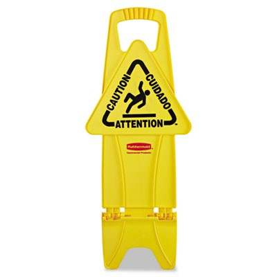 Rubbermaid 9S09 Stable Multi-Lingual Safety Sign - Yellow