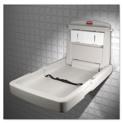 Rubbermaid 7819-88 Vertical Wall-Mountable Baby Changing Station - Platinum