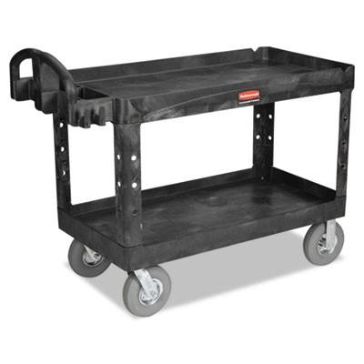 Rubbermaid 4546-10 Utility Cart w/Lipped Shelf, Pneumatic Wheels (Large)