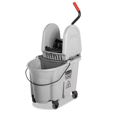 Rubbermaid 1863899 Executive WaveBrake Down-Press Mop Bucket, Gray, 35 Quarts