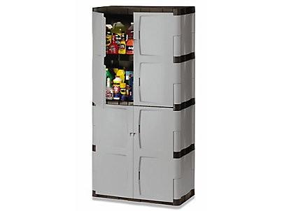 Rubbermaid 7083 Double-Door Storage Cabinet - Base/Top - Gray/Black