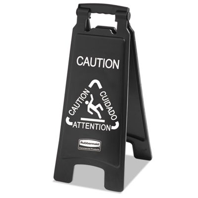Rubbermaid 1867505 Executive 2-Sided Multi-Lingual Caution Sign, Black/White
