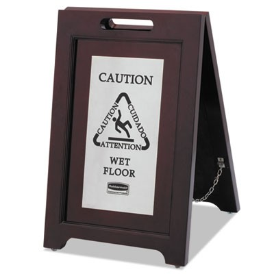 Rubbermaid 1867508 Executive 2-Sided Multi-Lingual Caution Sign, Brown/Stainless Steel