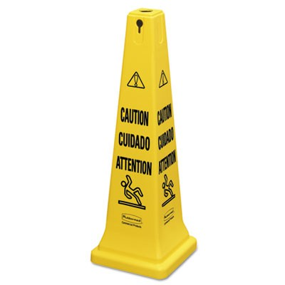 """Rubbermaid 6276 Multilingual Safety Cone, """"CAUTION"""" - Yellow"""