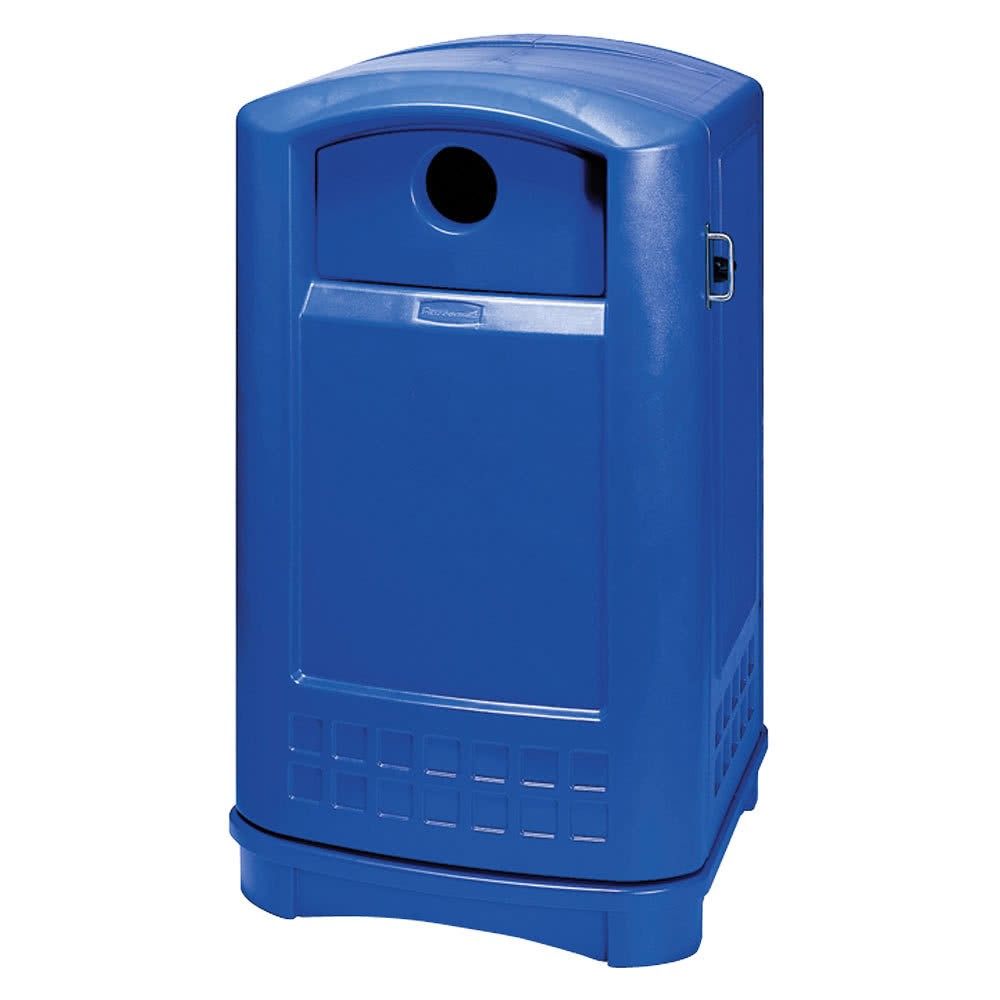 Rubbermaid 3968-73 Plaza Bottle and Can Recycling Container 50 gallon - Blue