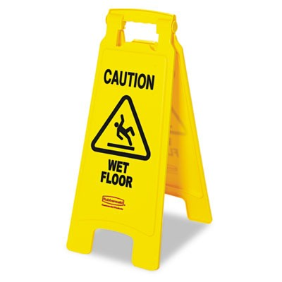 "Rubbermaid 6112-77 ""Caution Wet Floor"" Floor Sign - Yellow"