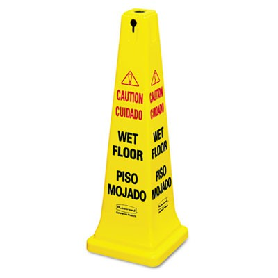 Rubbermaid 6276-77 Four-Sided Wet Floor Yellow Safety Cone