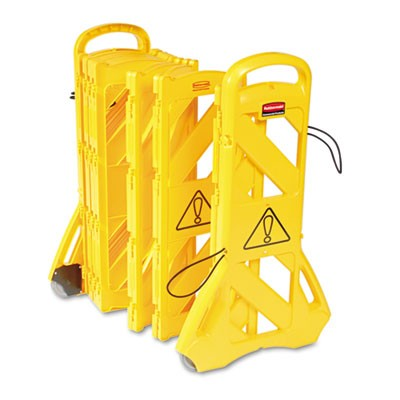 Rubbermaid 9S11 Portable Mobile Safety Barrier - Yellow