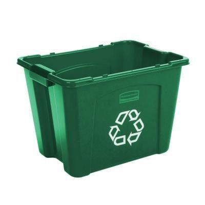 Rubbermaid 5714-73 Stacking Recycle Bin Rectangular 14 gallon 6/Case - Green