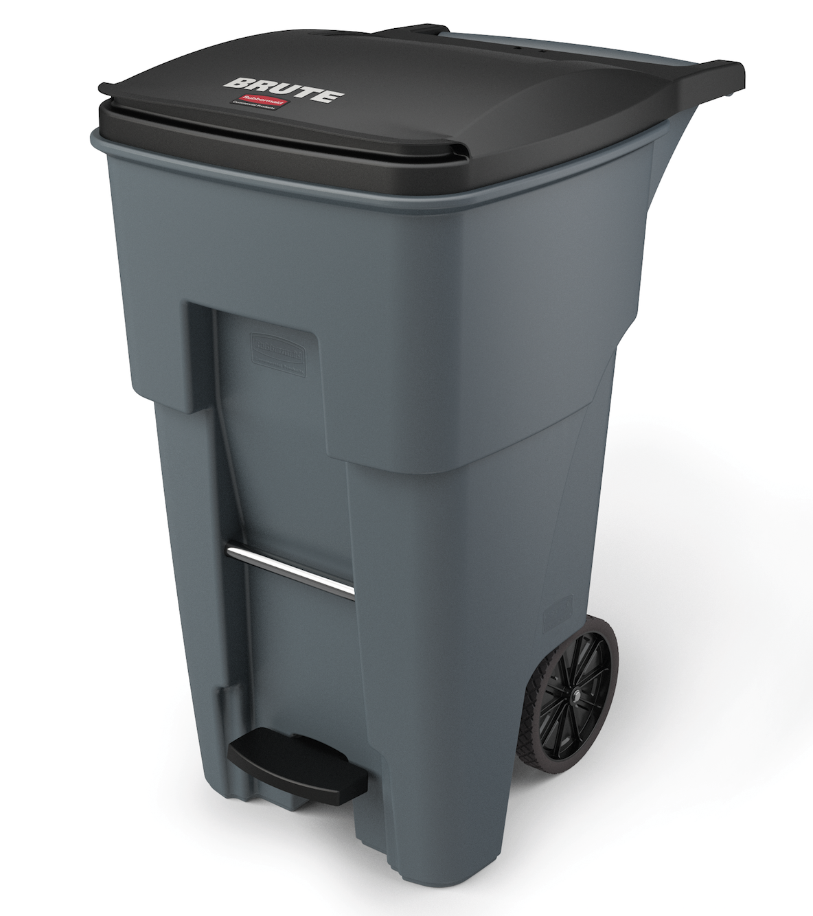 Rubbermaid 1971968 Brute Step On Rollout Container 65 Gallon Gray Outdoor Waste Receptacles