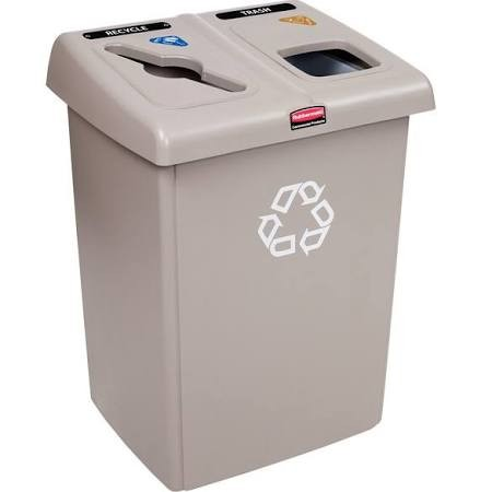 Rubbermaid 1792371 2-Stream Glutton Recycling Station 46 Gal - Beige