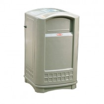Rubbermaid 9P91 Plaza Jr. Container with Ashtray Top 35 gallon - Beige
