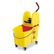 Rubbermaid 7576-88 WaveBrake 44-Quart Bucket/Downward Pressure Wringer Combination - Yellow