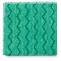 "Rubbermaid Q620 Reusable Cleaning Cloths Microfiber 16"", 12/Case - Green"