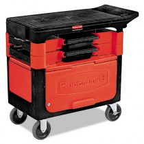 Rubbermaid 6180-88 Locking Trades Cart 330-lb Cap. 2 Shelves