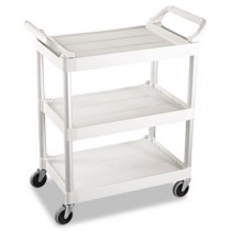 Rubbermaid 3424-88 Utility Cart 3-Shelf - Off-White