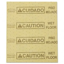 "Rubbermaid 4252 Over-the-Spill Pads ""Caution Wet Floor"" w/25 Pads - Yellow"