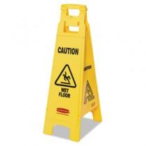 Rubbermaid 6114-77 Caution Wet Floor Floor Sign, 4-Sided - Yellow