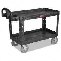 Rubbermaid 4546-10 Utility Cart w/Lipped Shelf, Pneumatic Wheels (Large)