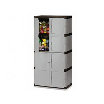 Rubbermaid 7083 Double-Door Storage Cabinet - Base/Top - Gray/Black