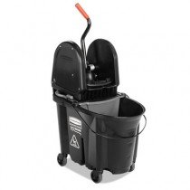 Rubbermaid 1863898 Executive WaveBrake Down Press Mop Bucket 35 Quarts - Black