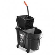 Rubbermaid 1863896 Executive WaveBrake Side-Press Mop Bucket 35 Quarts - Black