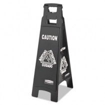 Rubbermaid 1867509 Executive 4-Sided Multi-Lingual Caution Sign, Black/White