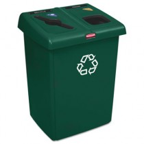 Rubbermaid 1792340 2-Stream Glutton Recycling Station 46 Gal - Green