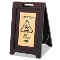 Rubbermaid 1867507 Executive 2-Sided Multi-Lingual Caution Sign, Brown/Brass