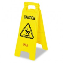 "Rubbermaid 6112 Multilingual ""Caution"" Floor Sign - Yellow"