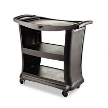 Rubbermaid 9T68 Executive Service Cart 3-Shelf - Black