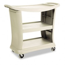 Rubbermaid 9T68 Executive Service Cart 3-Shelf - Platinum