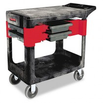 Rubbermaid 6180 Trades Cart 2-Shelf w/Storage Bins