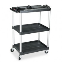 "Rubbermaid 9T30 Media Cart 2-Shelf, 42"" Tall - Black"