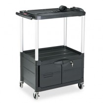 "Rubbermaid 9T35 Media Cart 4-Shelf with Cabinet, 48"" Tall - Black"