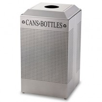 Rubbermaid DCR24CSM Silhouette Steel Can/Bottle Recycling Receptacle 29 gallon - Silver