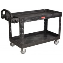 Rubbermaid 4546 HD 2-Shelf Utility Cart w/Lipped Shelf (Large)