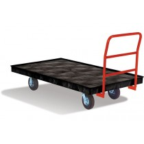 "Rubbermaid 9T21 Platform Truck, Crossbar Handle, 8"" Polyolefin Casters - Black"