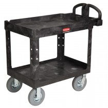 Rubbermaid 4520-10 Heavy Duty 2-Shelf Utility Cart with Pneumatic Casters