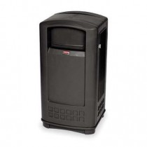 Rubbermaid 9P91 Plaza Jr. Container with Ashtray Top 35 gallon - Black