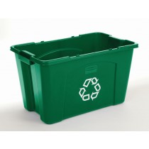 Rubbermaid  5718-73 Stacking Recycle Bin 18 gallon 6/Case - Green
