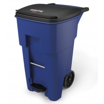 Rubbermaid 1971970 BRUTE Step-On Rollout Container 65 Gallon - Blue