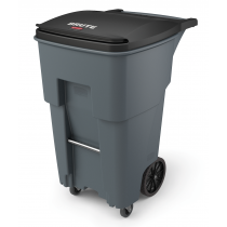 Rubbermaid 1971971 Brute Rollout with Casters, Square, 65 gallon - Gray