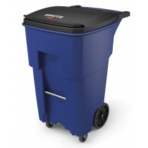 Rubbermaid 1971973 Brute Rollout with Casters, Square, 65 gallon - Blue