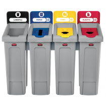Rubbermaid 2007919 Slim Jim Recycling Station Kit, 92 gal, 4-Stream Landfill/Paper/Plastic/Cans