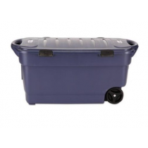 Rubbermaid RMRT450000 Roughneck Wheeled Storage Box, 45gal, Dark Indigo Metallic