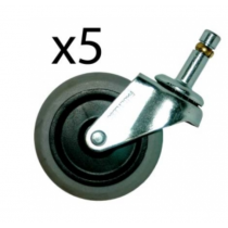 """Rubbermaid 2640M30000 3"""" Swivel Caster Kit (5) for the 2640 dolly"""